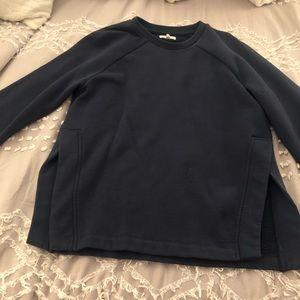 Navy Lou and grey sweatshirt